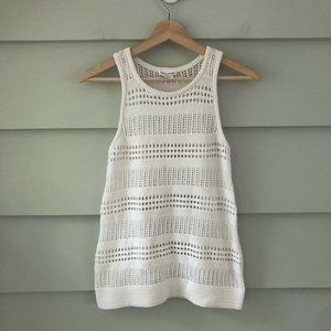 Club Monaco White Open Knit Sweater Tank XS